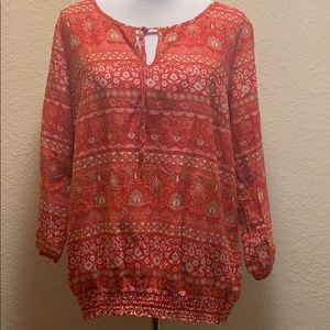 Lucky Brand Red printed Blouse